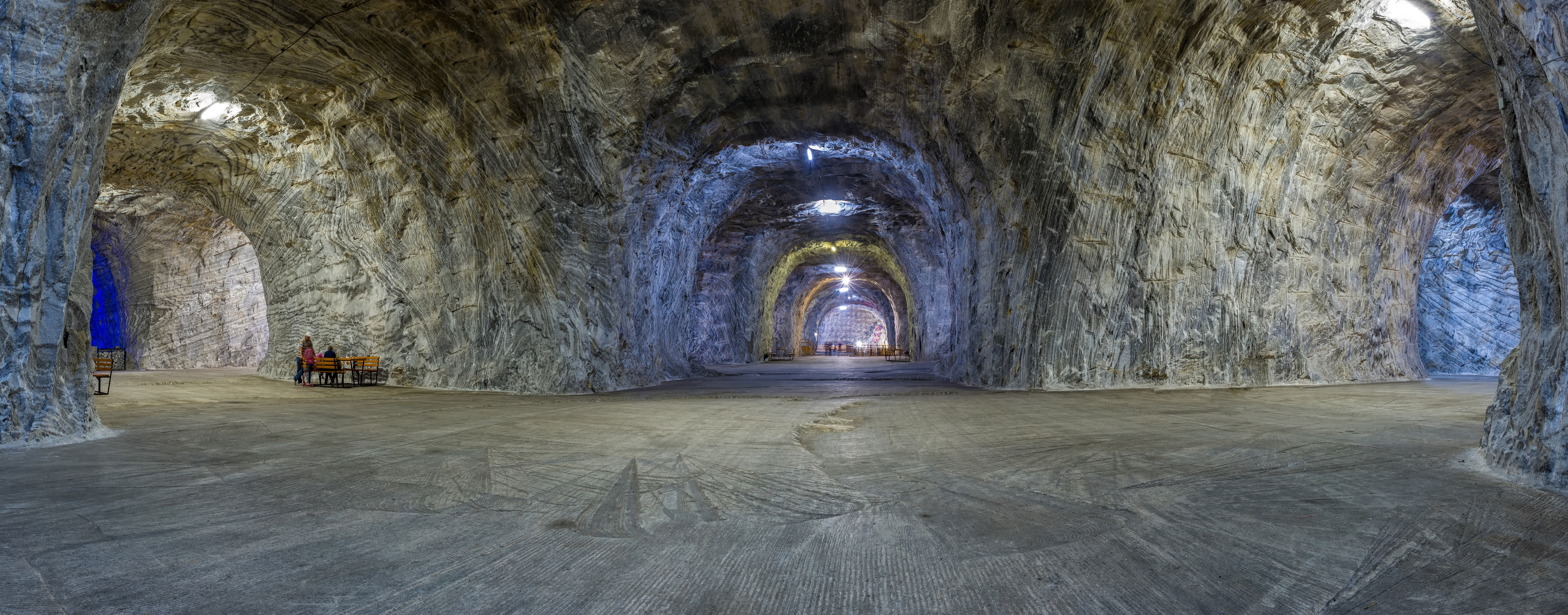 Panorama inside Salt mine from Targu Ocna, largest salt provider in Moldavia at a 240m depth, and it is due to its salt mine microclimate, an important natural treatment facility used in respiratory disease therapy.